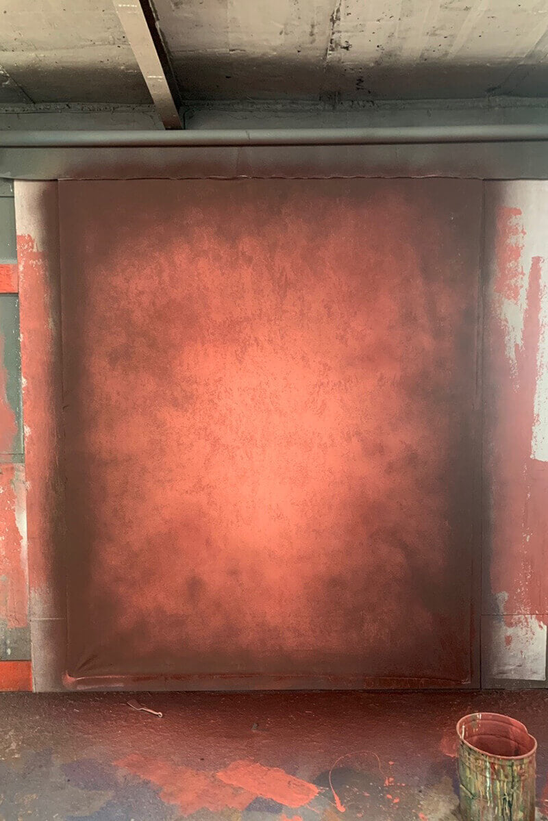 Clotstudio Abstract Warm Orange Red Mid Textured Hand Painted Canvas Backdrop #clot 120-Mid Texture