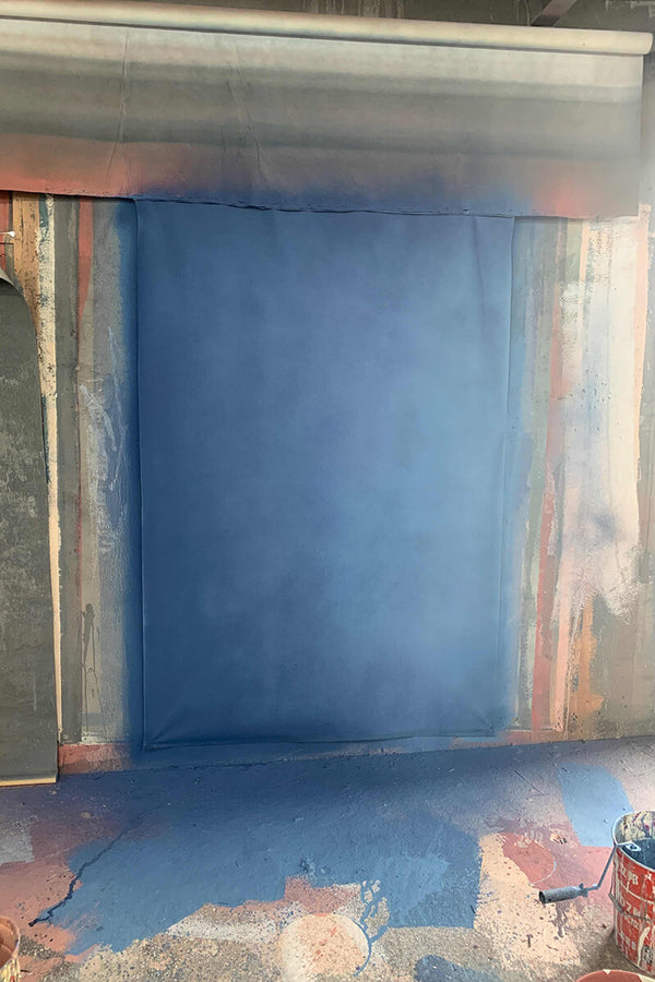 Clotstudio Abstract Blue Textured Hand Painted Canvas Backdrop #clot 124