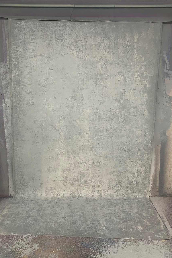Clotstudio Abstract Grey Mid Textured Hand Painted Canvas Backdrop #clot 127-Mid Texture