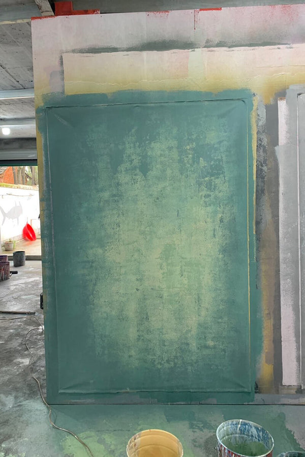 Clotstudio Abstract Dark Green Little Yellow Texture Hand Painted Canvas Backdrop #clot 13-Strong Textured-CLOT STUDIO