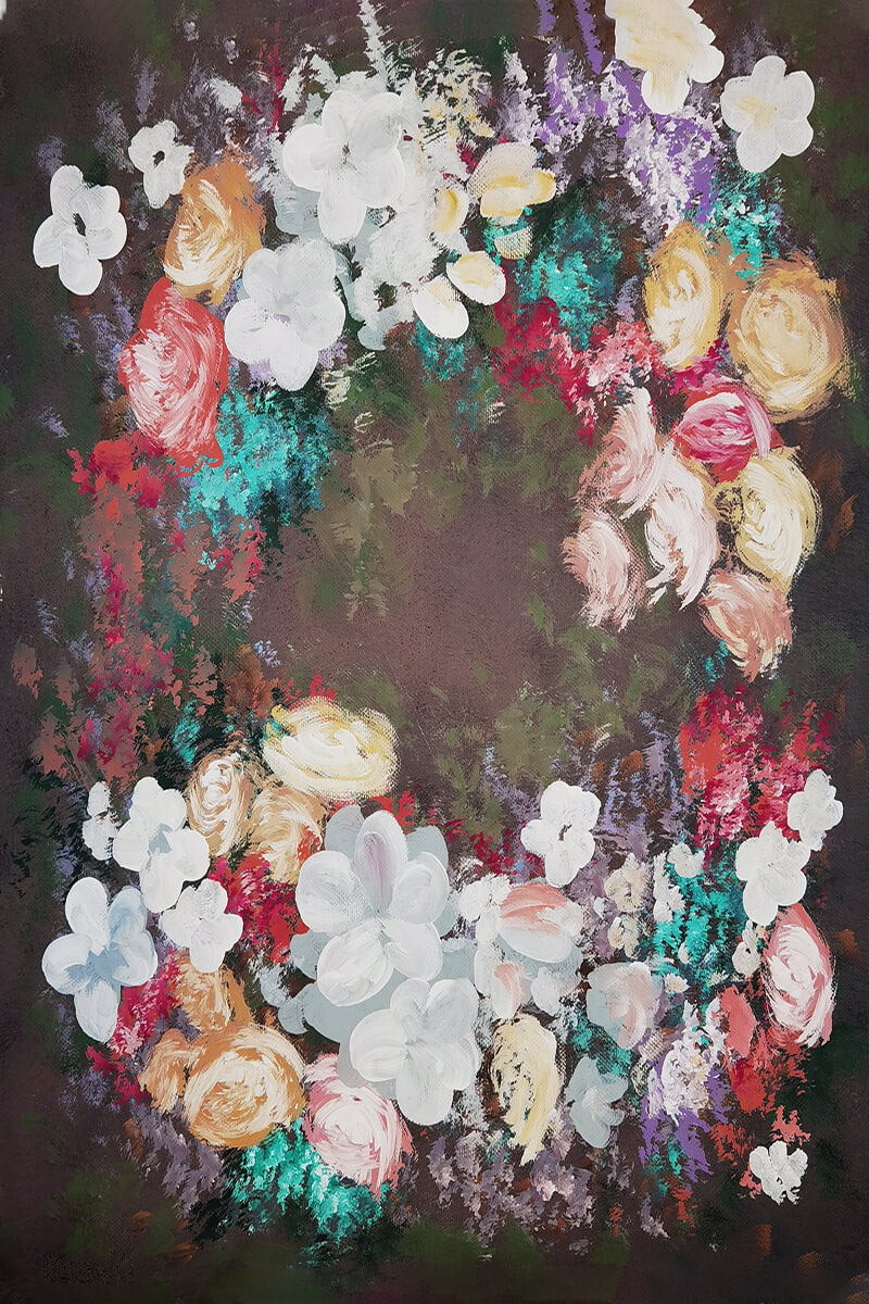 Clotstudio Fine Art Brown with Flowers Spray Painted Backdrop Canvas Backdrop #clot157-Mid Texture-CLOT STUDIO