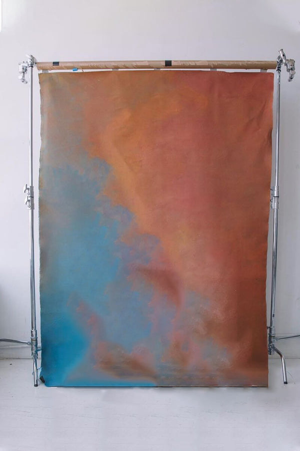 Clotstudio Abstract Red Orange Blue Textured Hand Painted Canvas Backdrop #clot187