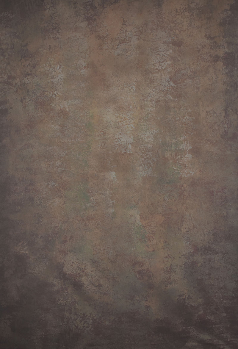 Clotstudio Abstract Brown Spray Textured with Little Green Hand Painted Canvas Backdrop #clot 1-Low texture-CLOT STUDIO
