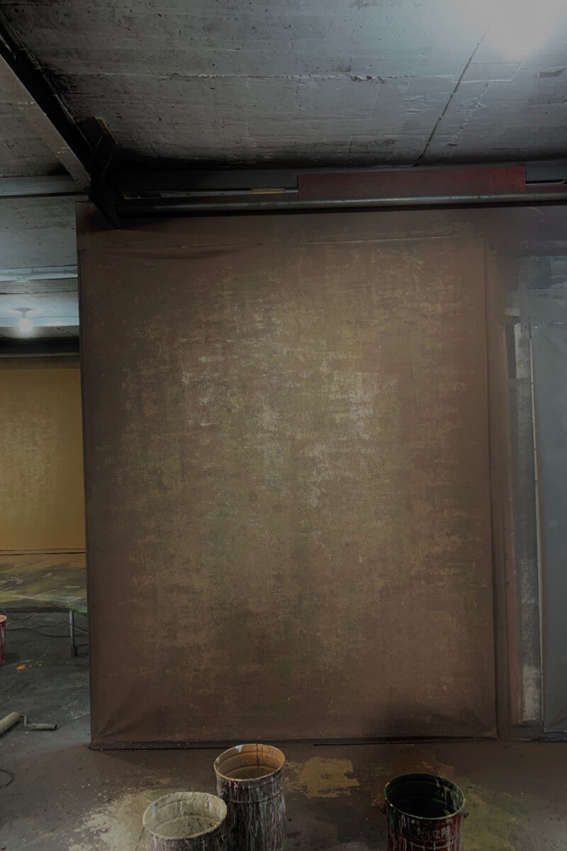 Clotstudio Abstract Brown Spray Textured with Little Green Hand Painted Canvas Backdrop #clot 1