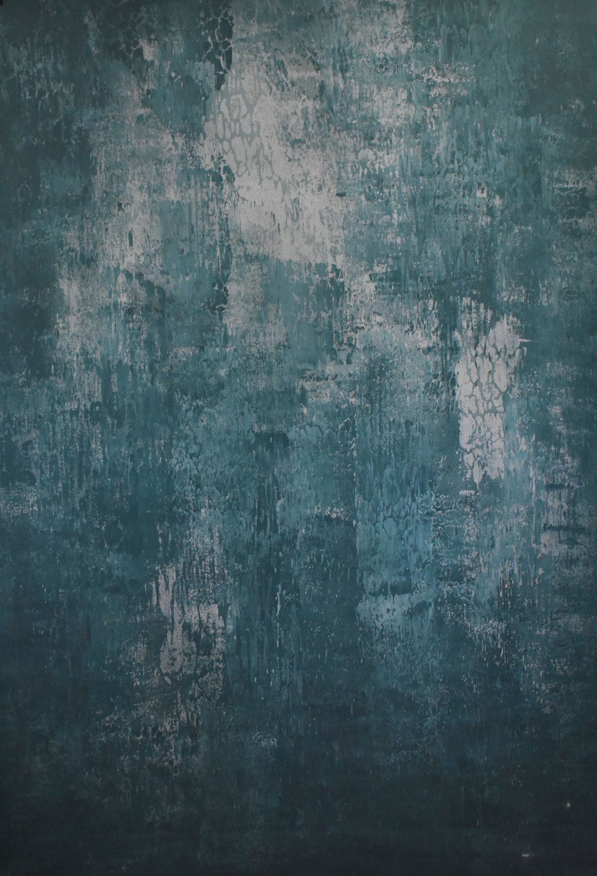Abstract Teal Grey Spray Textured Hand Painted Canvas # clot2