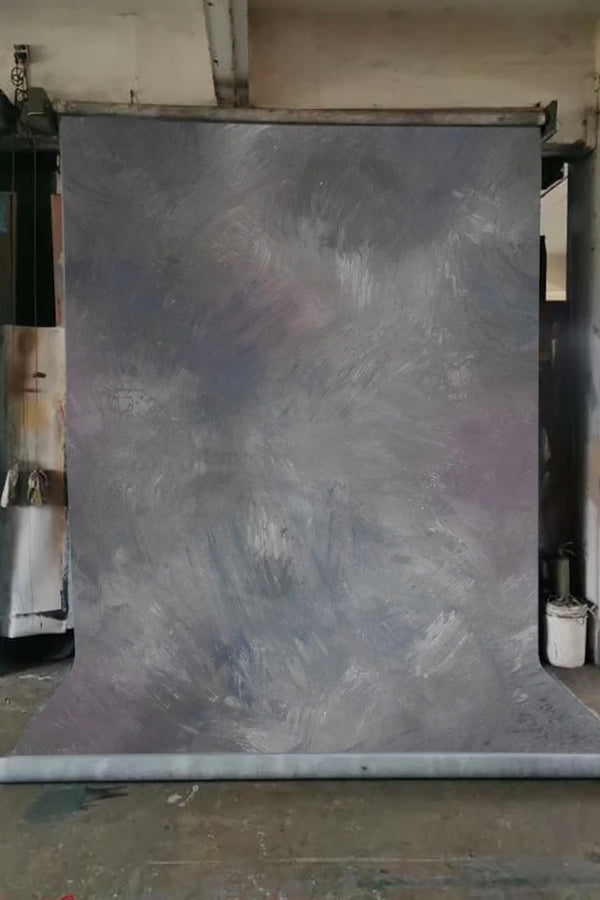 Clotstudio Abstract Grey with Purple and Black Texture Hand Painted Canvas Backdrop #clot 20