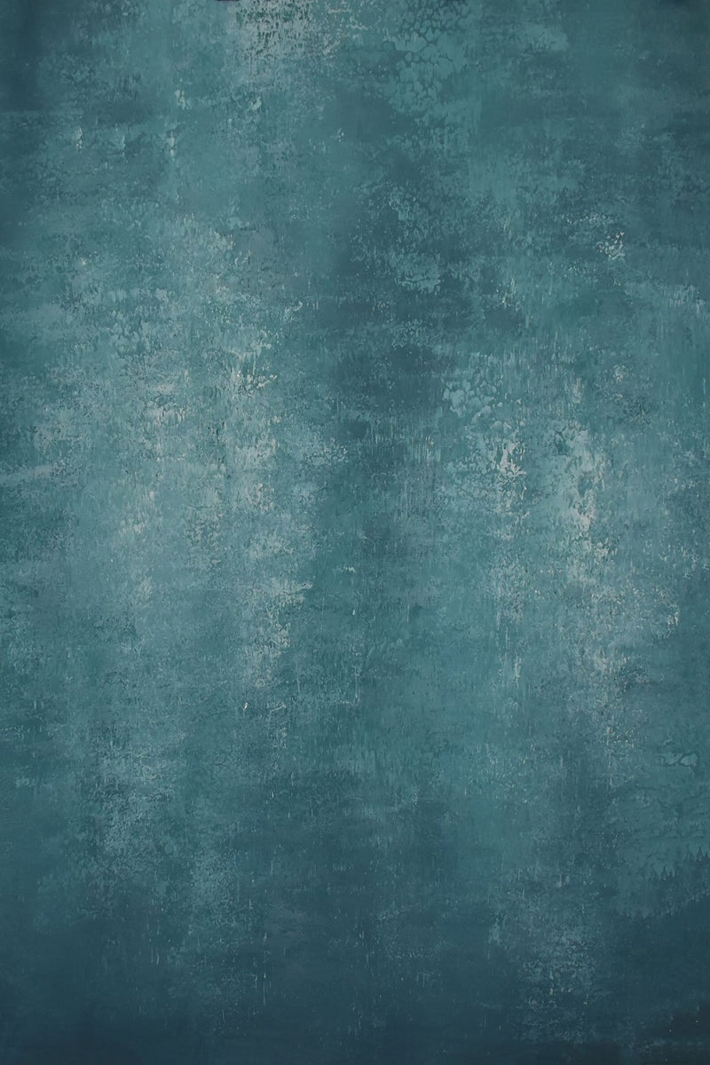 RTS-Clotstudio 5X7 ft & 7X9 ft Abstract Dark Cyan Texture Hand Painted Canvas Backdrop #clot 29