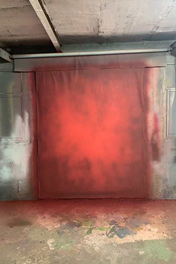 Clotstudio Abstract Dark Red Spray Textured Hand Painted Canvas Backdrop #clot 53-Low texture