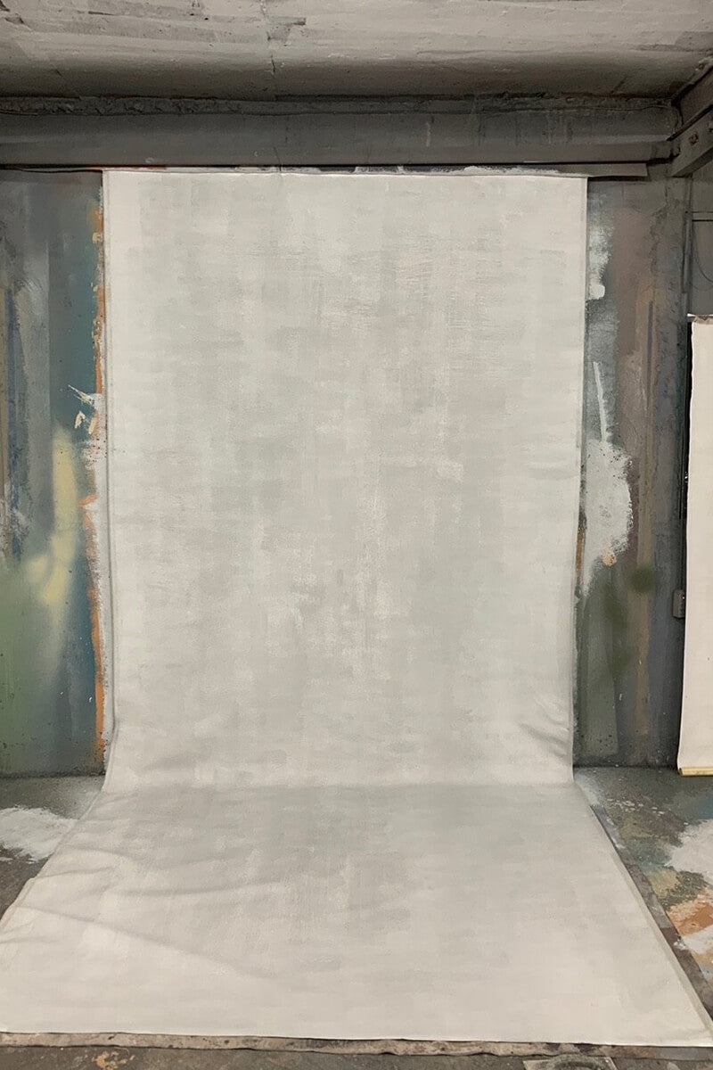 Clotstudio Abstract White with Little Grey color Textured Hand Painted Canvas Backdrop #clot 60-Low texture