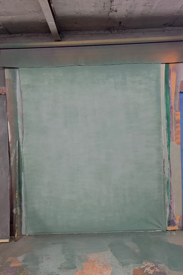 Clotstudio Abstract Gray Green Spray Textured Hand Painted Canvas Backdrop #clot 64-Low texture-CLOT STUDIO