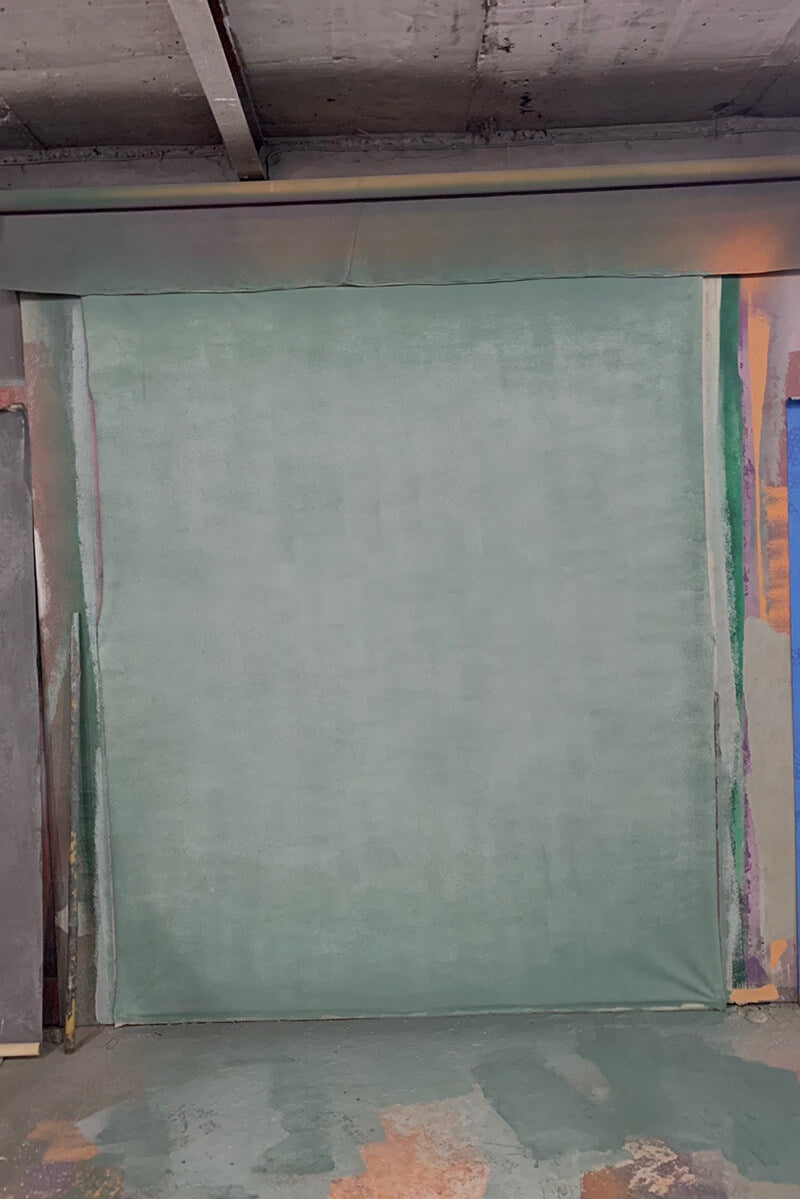 RTS-Clotstudio 5X7 ft & 8x12 ft Abstract Gray Green Spray Textured Hand Painted Canvas Backdrop #clot 64-Low texture-CLOT STUDIO