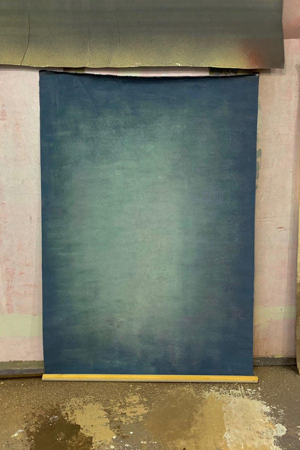 Clotstudio Abstract Grayish Blue Purple Soft Texture Hand Painted Canvas Backdrop #clot 78-Low texture-CLOT STUDIO