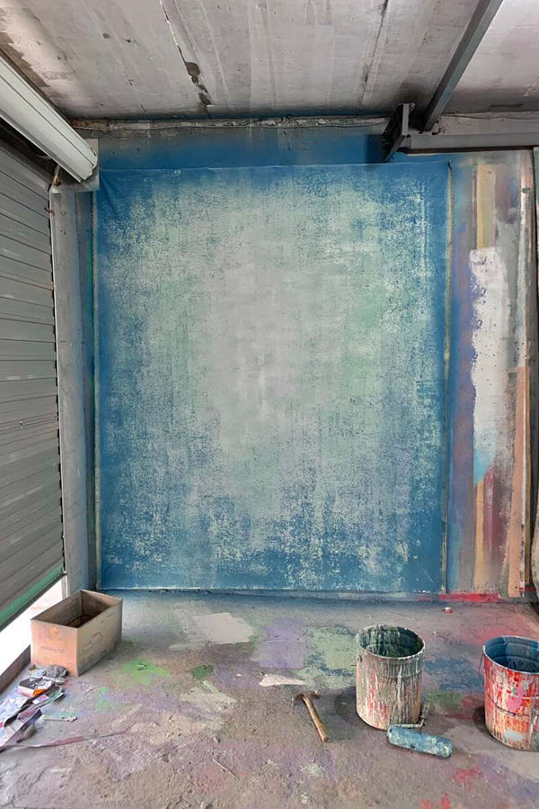 Abstract Grey Blue Spray Textured Hand Painted Canvas # clot7