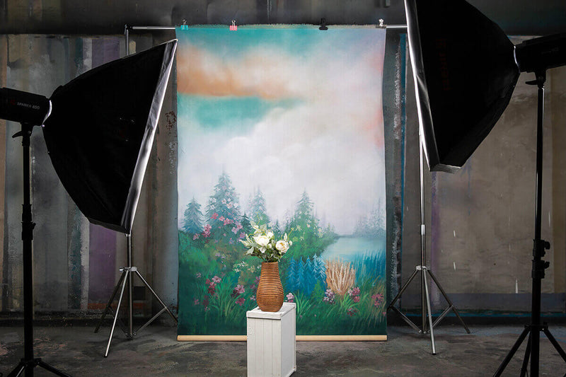 Clotstudio Fine Art Flower and Forest Spray Painted Backdrop Canvas Backdrop #clot81-Mid Texture