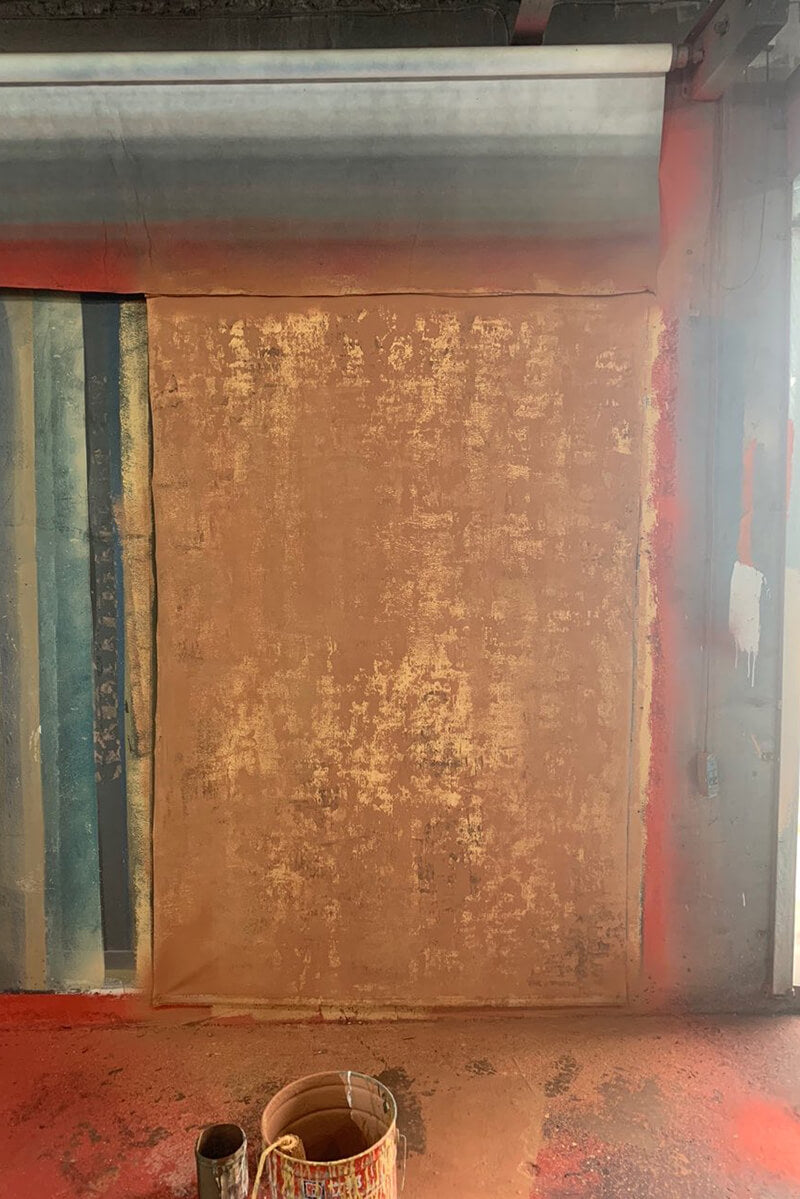Clotstudio Abstract Red Ochre Textured Hand Painted Canvas Backdrop #clot 92