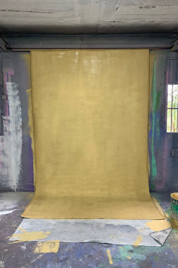 Clotstudio Abstract Bright Gold Textured Hand Painted Canvas Backdrop #clot 94-Mid Texture