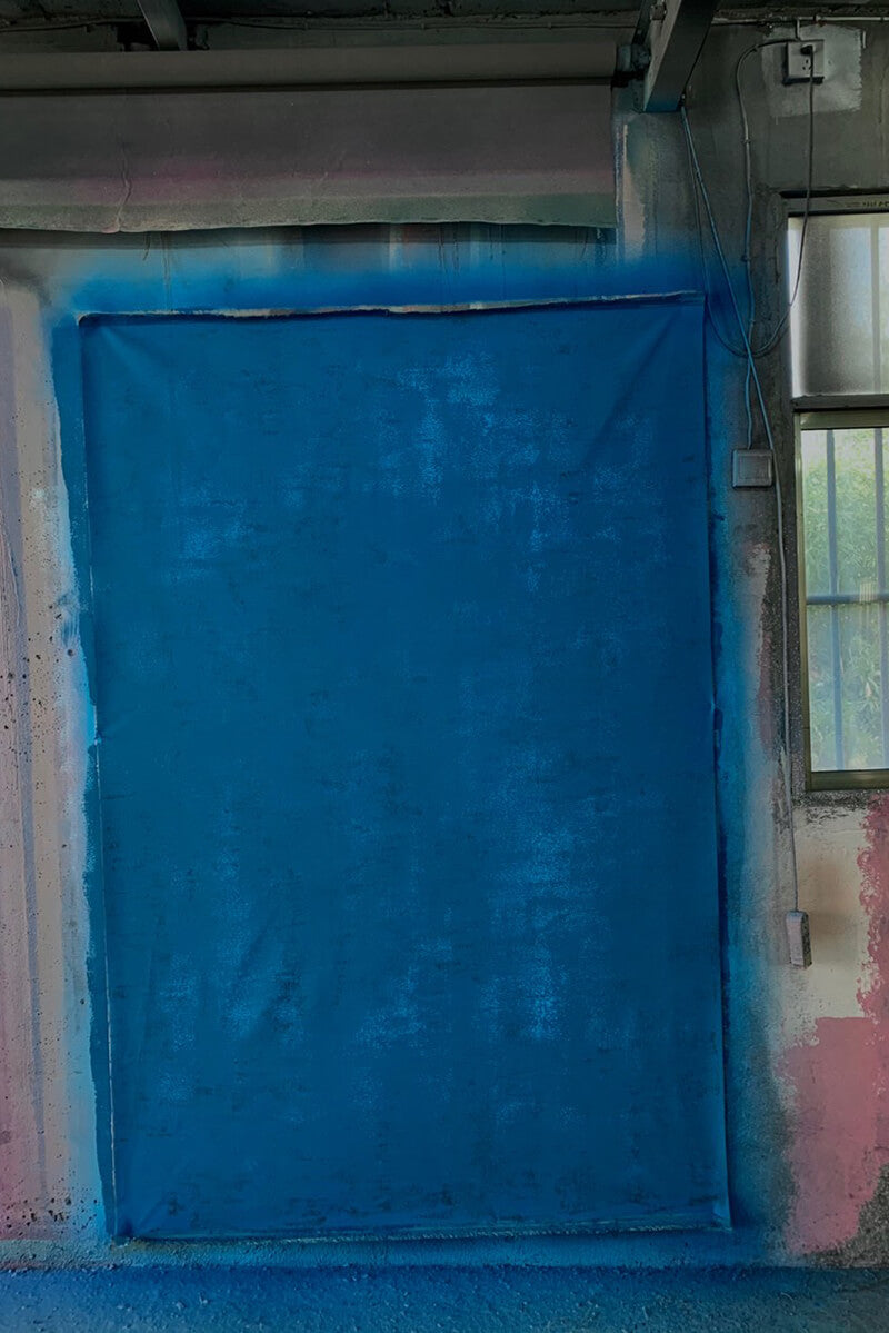 Clotstudio Abstract Blue Mid Textured Hand Painted Canvas Backdrop #clot 96