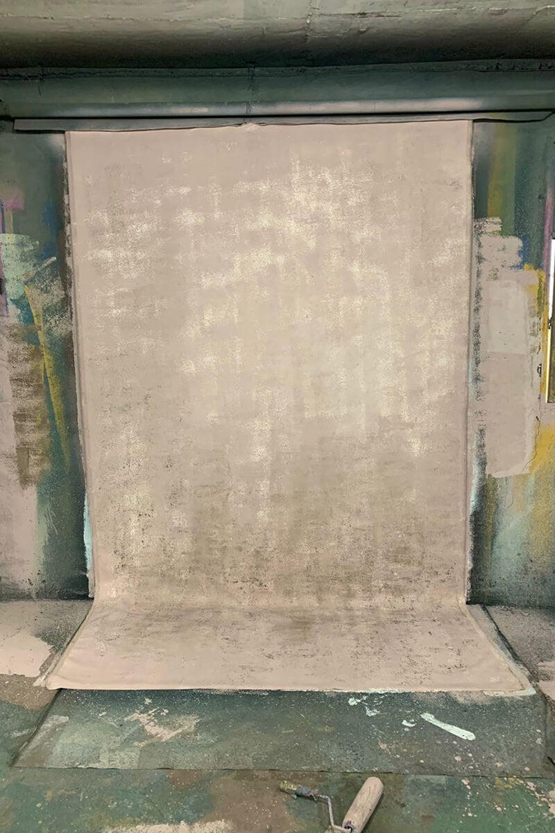 Clotstudio Abstract Warm Grey Mid Textured Hand Painted Canvas Backdrop #clot 99-Mid Texture
