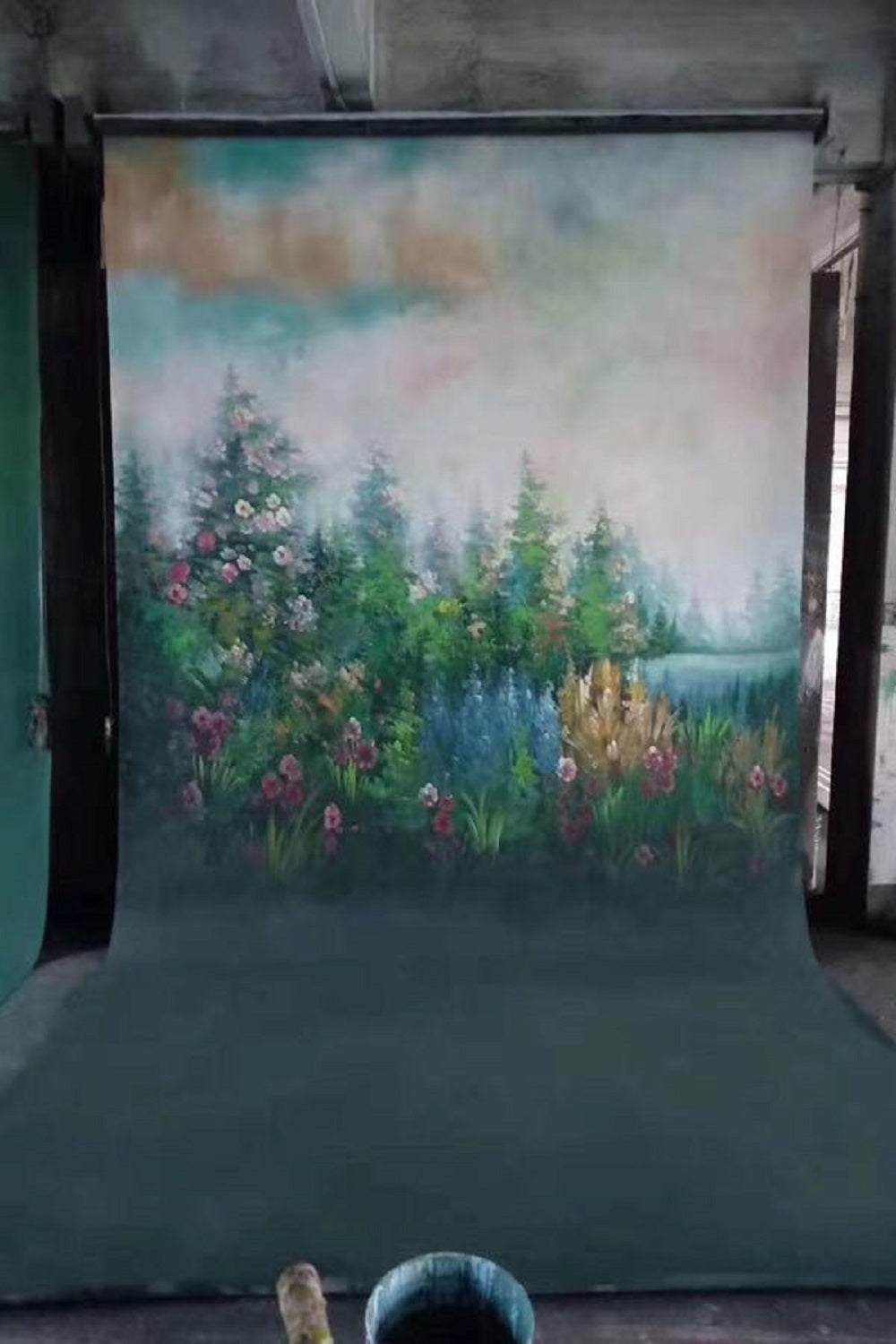 Clotstudio Fine Art Flower and Forest Spray Painted Backdrop Canvas Backdrop #clot81-Mid Texture-CLOT STUDIO-custom hand painted canvas studio photo backdrops handmade photography backgrounds