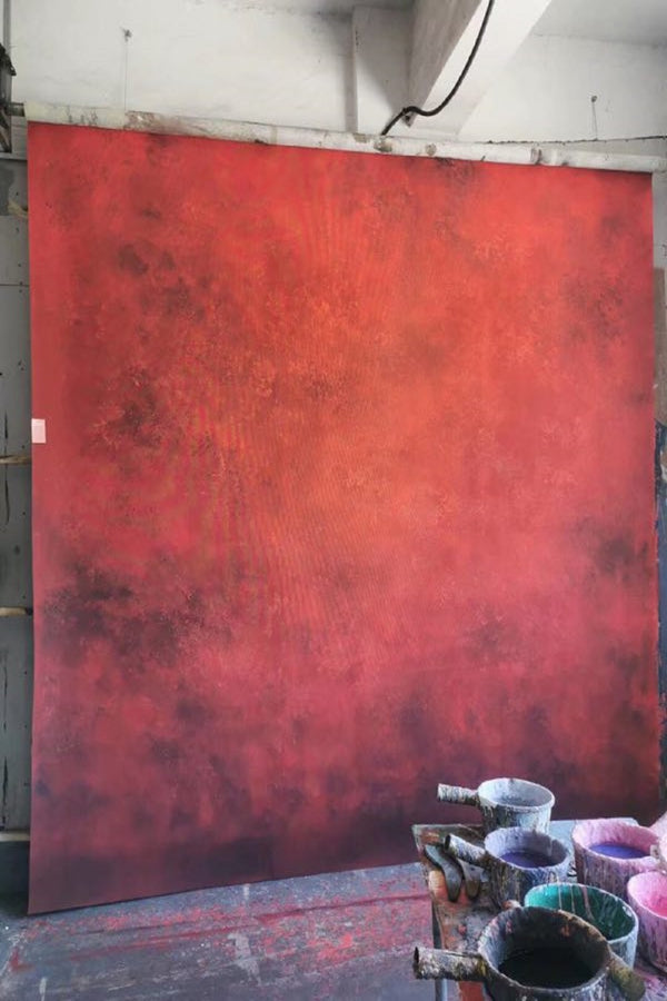 Clotstudio Abstract Medium Red Black Soft Texture Hand Painted Canvas Backdrop #clot 68