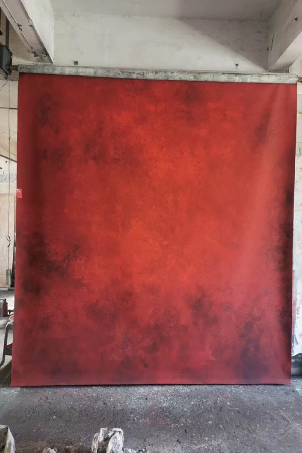 Clotstudio Abstract Dark Red Soft Texture Hand Painted Canvas Backdrop #clot 69