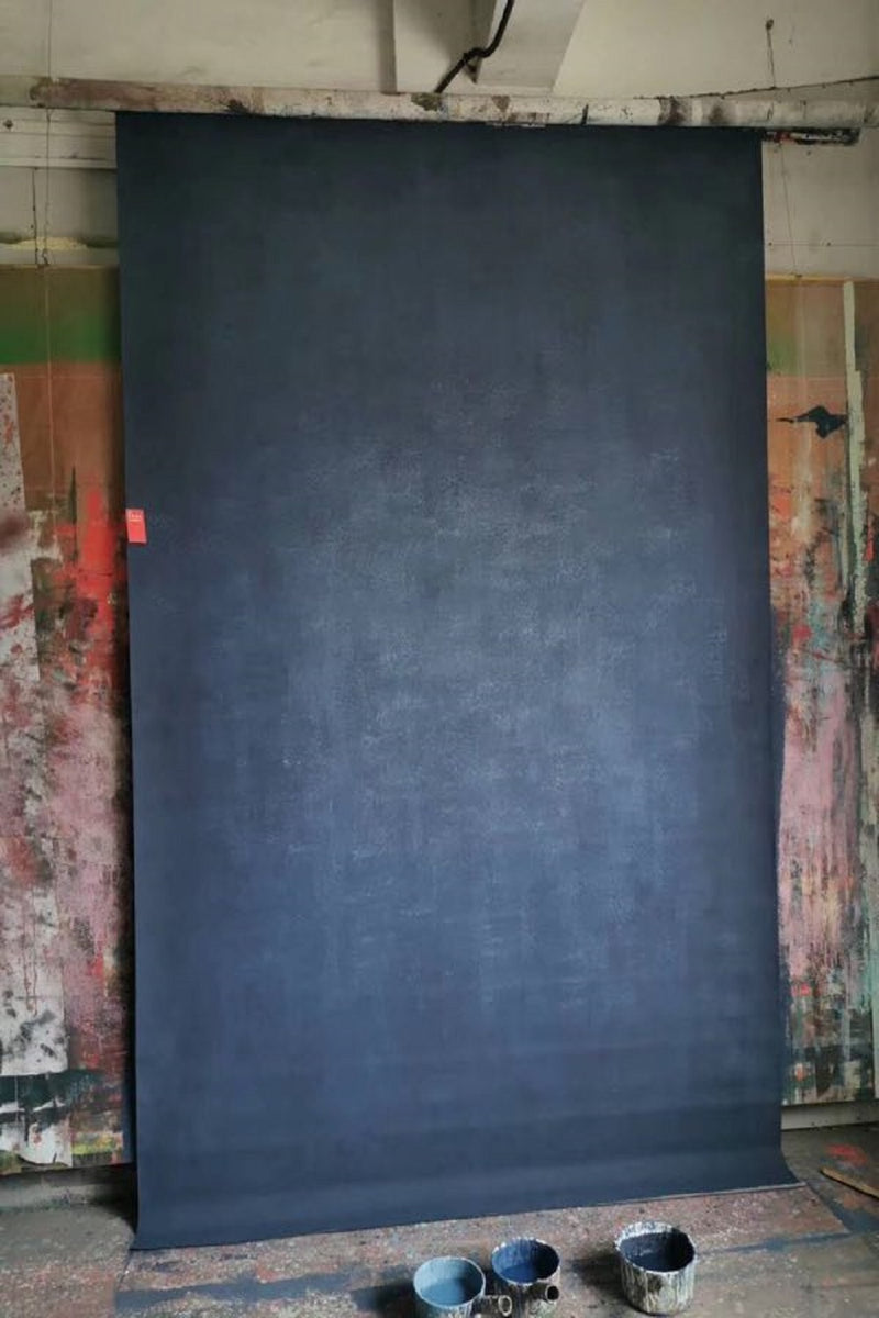 Clotstudio Abstract Deep Blue Soft Texture Hand Painted Canvas Backdrop #clot 71