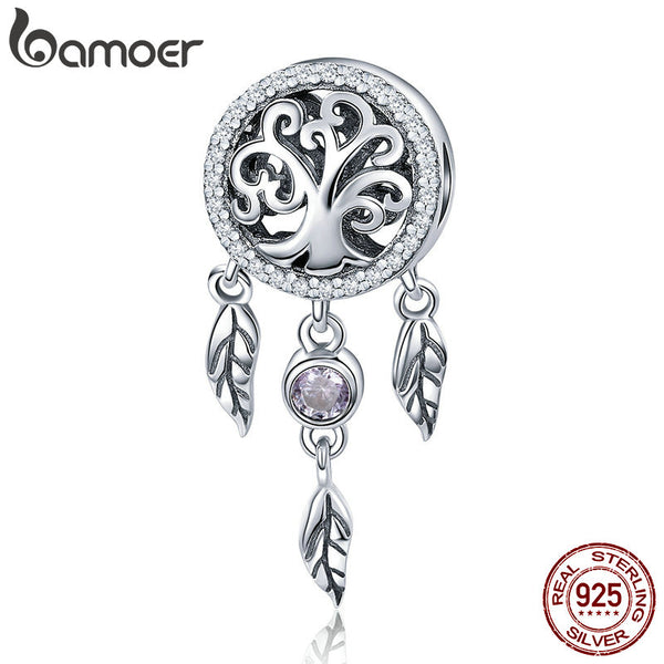 BAMOER 100% 925 Sterling Silver Dream Catcher Holder Family Tree Beads