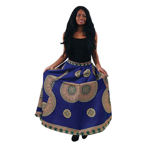Blue African Royalty Skirt - 6 Panel - Hidden In God