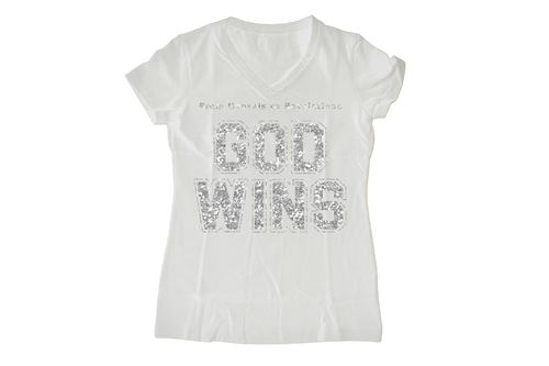 God Wins Glitter Women's V-neck Style Tee - Hidden In God
