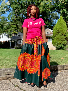 Dark Green Sun Print Long Skirt - Hidden In God