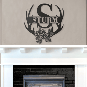 Metal Antler Monogram