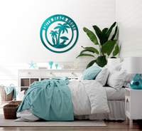 Custom Metal Palm Trees Beach House Sign