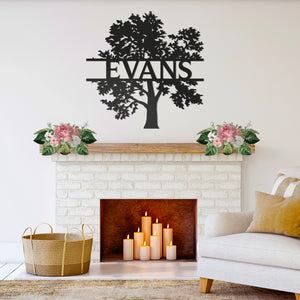 Custom Metal Family Tree Monogram