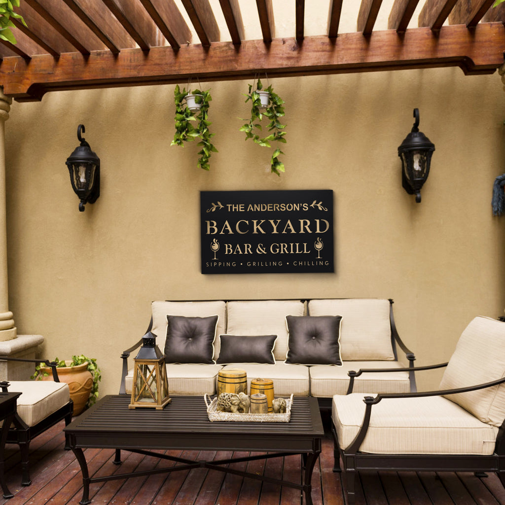 Personalized Backyard Bar & Grill Sign