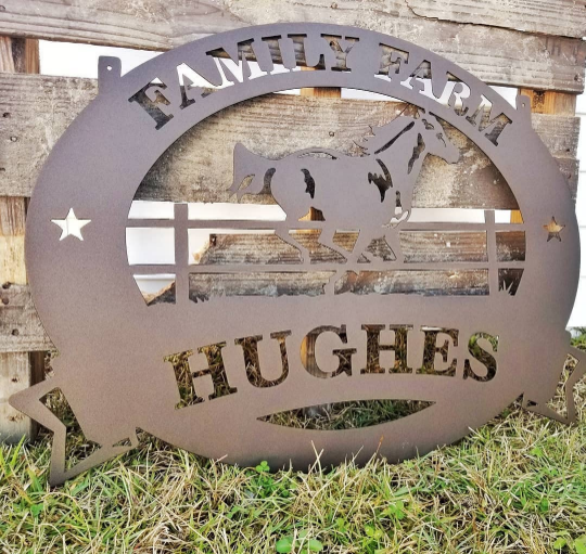 Metal Family Farm Horse Sign