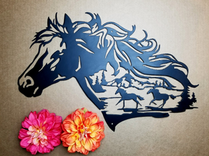 Metal Running Horse Wall Art