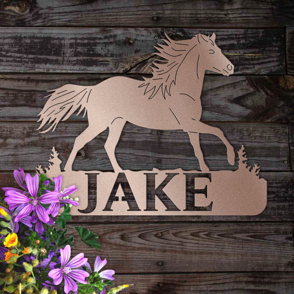 Personalized Trotting Horse Sign for Home or Barn