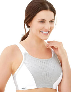 1166 Grey and White Wireless Adjustable Control Sport Bra