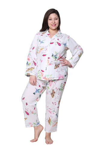 100% Cotton Long Sleeve Pajamas 1411 - Hummingbird Island