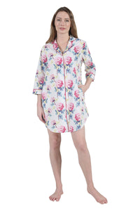 100% Cotton Long Sleeve Sleep Shirt 1481S - Sunny Peony