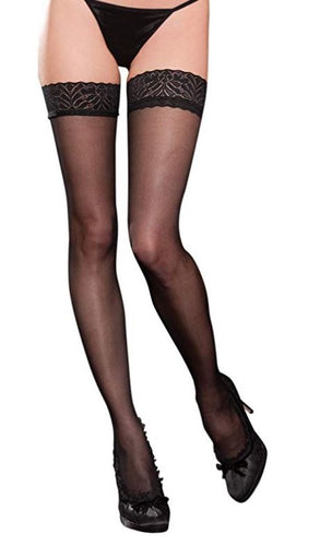 Lace Top Sheer Thigh Highs 20302 - Black