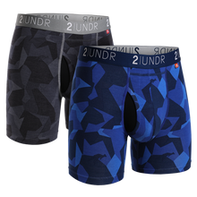 "Load image into Gallery viewer, 2UNDR 2PACK 6"" Swing Shift Boxer Brief - Black Camo/Blue Camo"