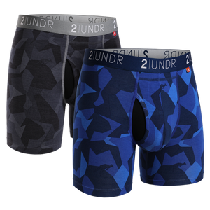 "2UNDR 2PACK 6"" Swing Shift Boxer Brief - Black Camo/Blue Camo"