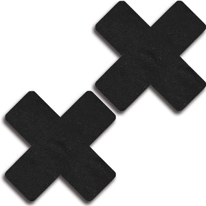 Satin Black Cross Pasties 31534 - Black