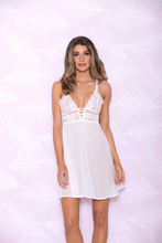 Load image into Gallery viewer, Soft Lace Cup Chiffon Chemise 7689 - White