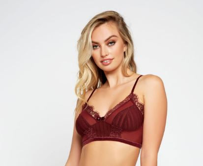 7710B Selena Striped Mesh Bralette - Burgundy
