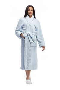 Honeycomb Full Length Bath Robe 8815 - Blue