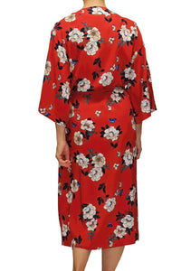 Amelia Long Robe 14003 - Red with Floral