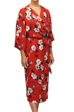 Load image into Gallery viewer, Amelia Long Robe 14003 - Red with Floral