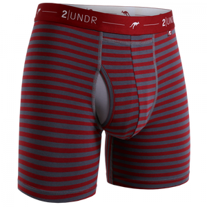 "2UNDR 6"" Day Shift Boxer Brief - Burgundy\Grey Stripes"